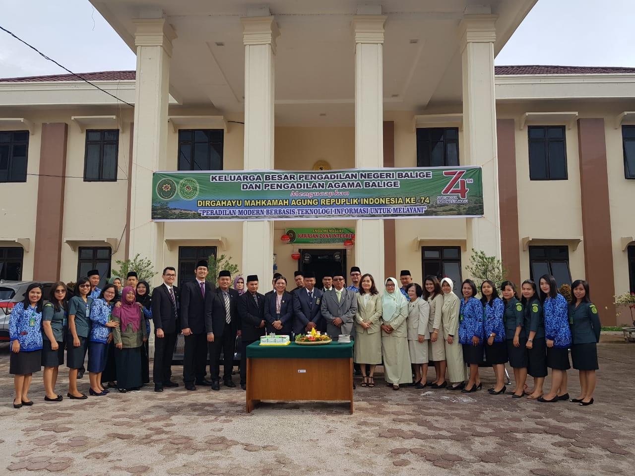 Upacara bersama Pengadilan Negeri Balige dan Pengadilan Agama Balige Memperingati Hari Ulang Tahun Mahkamah Agung RI ke-74 Tahun 2019.