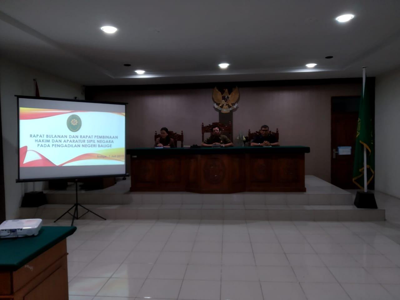 Rapat Bulanan Pengadilan Negeri Balige Bulan Juli Tahun 2019